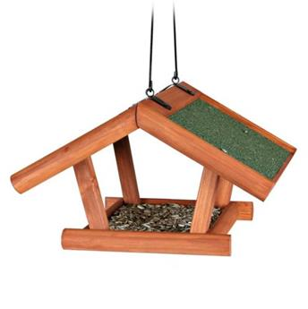 Mangeoire Oiseaux Suspendue, 30 × 18 × 28 Cm, Brun