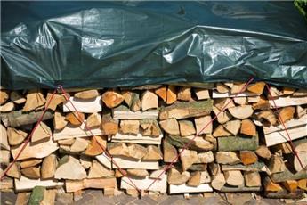 Bâche verte pour tas de bois - HDPE tissé, oeillet -  90 g/m² - 2 x 8 m